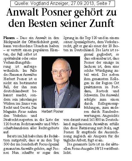 Vogtland-Anzeiger vom 26.09.2013